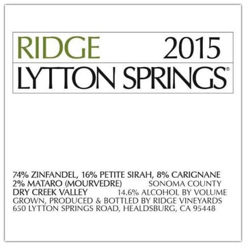 Ridge Lytton Springs Zinfandel 2015