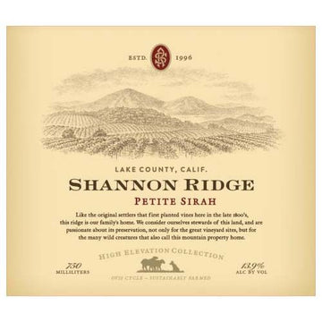 Shannon Ridge High Elevation Petite Sirah 2017