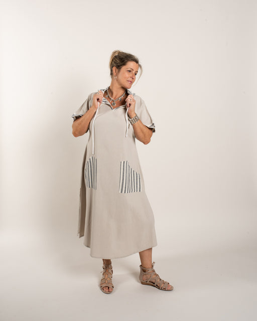 B/I HOODED STRIPE DRESS