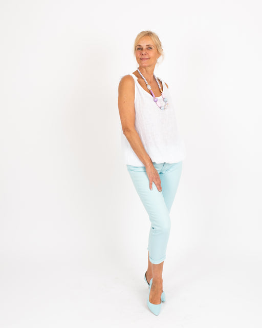 Colour Cotton Ankle Jeans