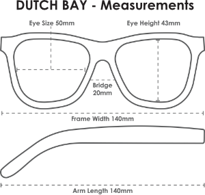 Parkville Handmade Wooden Polarised Sunglasses - Measurements