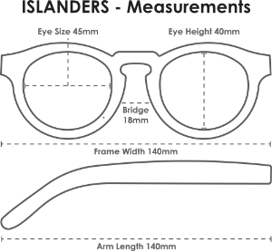 Parkville wooden sunglasses - Islanders Measurements