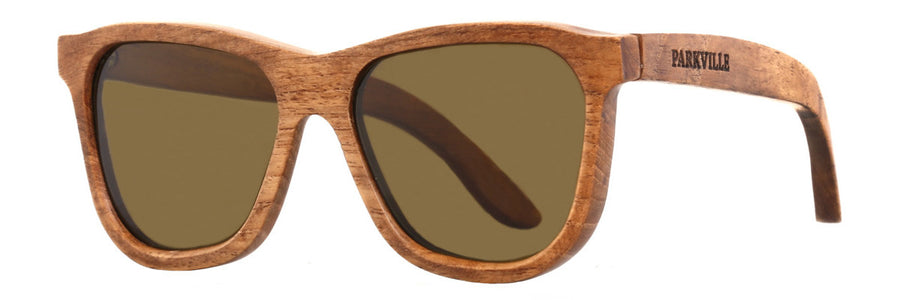Parkville Dutch Bay Sunglasses: Handmade Teak Wood Frame and Brown Lenses