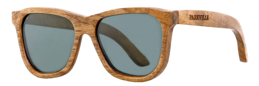 Parkville Dutch Bay Sunglasses: Handmade Teak Wood Frame, Green Polarised Lenses