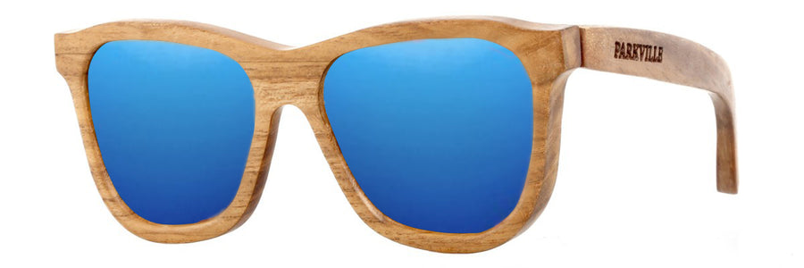 Parkville Sunglasses: Teak Wood Frame, Blue Mirror Lenses