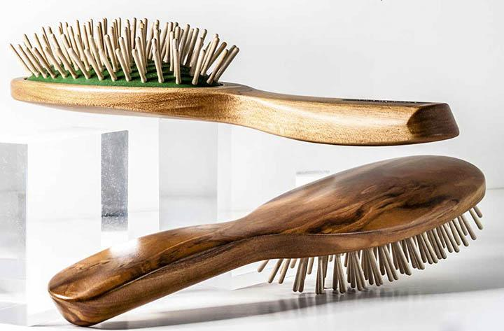 2 Parkville Valentino Hairbrushes with massaging wooden pins