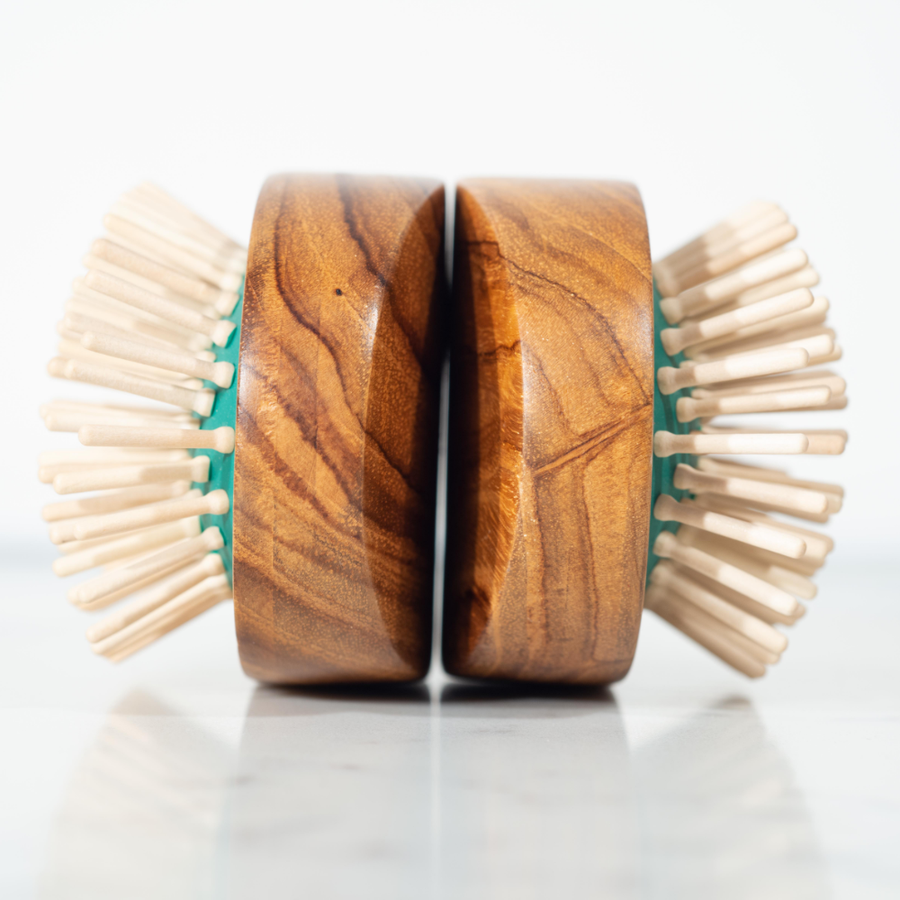 two Parkville wooden hairbrushes made for Valentino London in Colombo, Sri Lanka