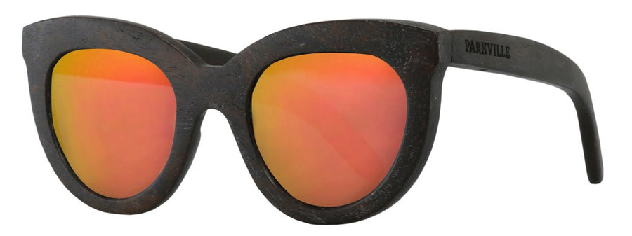 Parkville mirrored lenses wooden sunglasses with spring hinges in orange