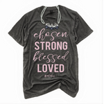 Chosen V-Neck Tee - With #Mom