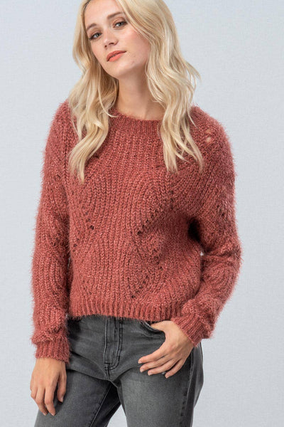 FUZZY OPEN KNIT CREW NECK SWEATER