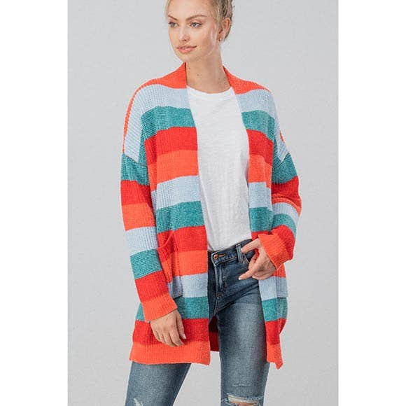 CHENILLE KNIT STRIPED OPEN CARDIGAN