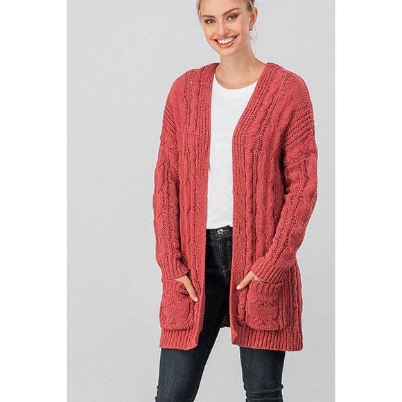 CHUNKY CABLE KNIT OPEN CARDIGAN-RUST