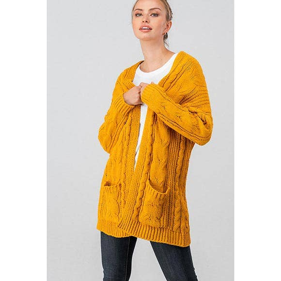 CHUNKY CABLE KNIT OPEN CARDIGAN-MUSTARD