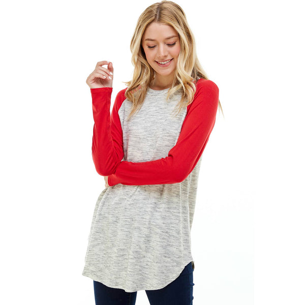 Contrast Scoop Neck Long Sleeve Tunic