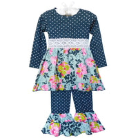 Girls Grey Blue Shabby Floral Dress & Ruffled Pants