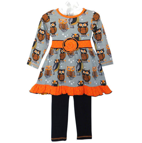 Girls Halloween Bats Dress and Leggings