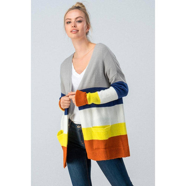 MULTI COLOR BLOCK OPEN CARDIGAN