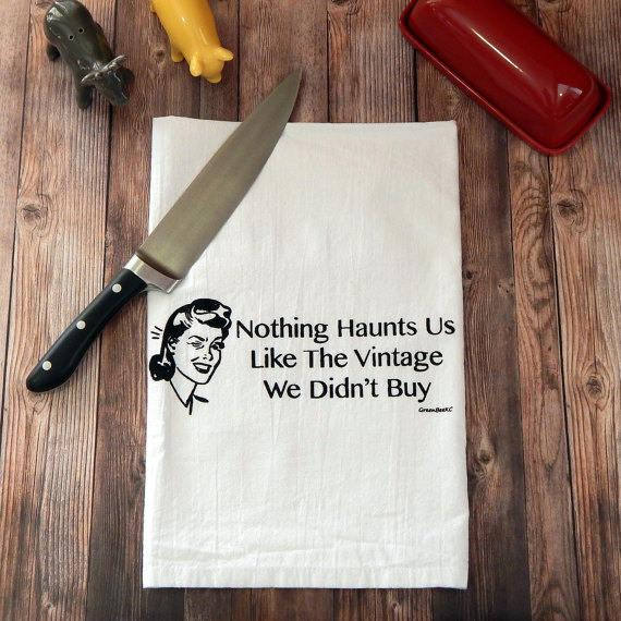 Nothing Haunts Us Like the Vintage We Didn't Buy Tea Towel