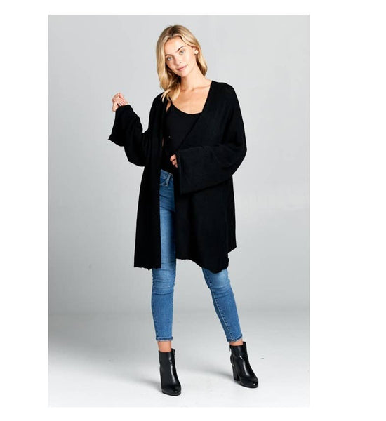 Extra Soft Oversize Sweater Cardigan-Black