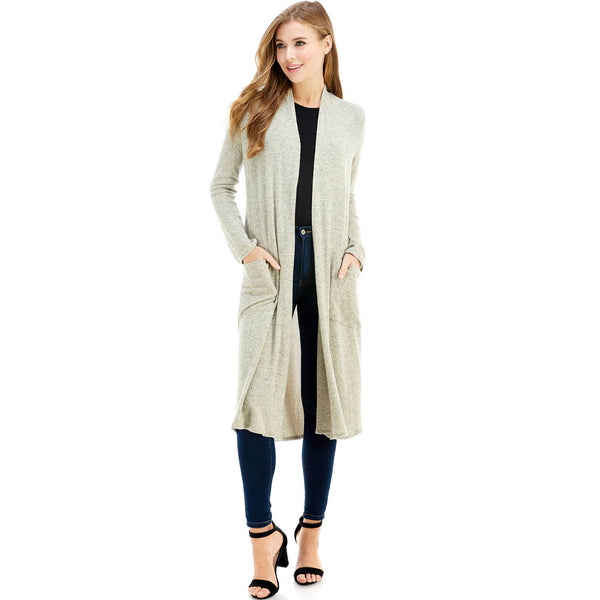 Maxi Long Sleeve Cardigan with Pockets-Heather Beige