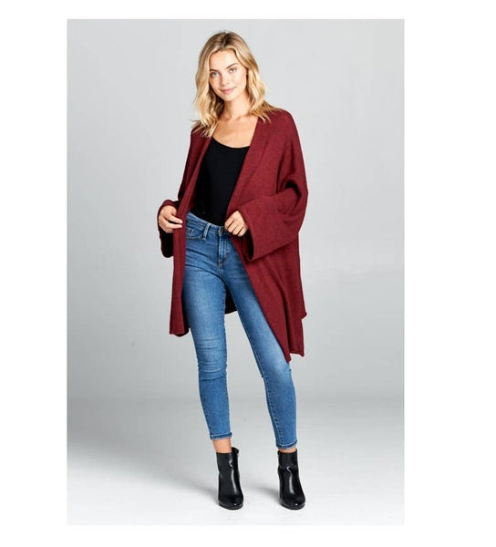 Extra Soft Oversize Sweater Cardigan-Burgundy