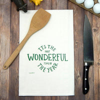 It's the Most Wonderful Time of the Year Tea Towel | Metallic Green Ink
