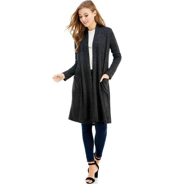 Maxi Long Sleeve Cardigan with Pockets-Heather Black