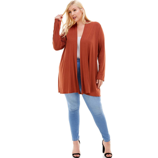 Plus Size Long Sleeve Open Front Drape Cardigan