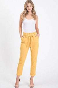 Cropped Linen Pants with Front Tie Belt and Pockets