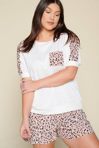 Plus Size Animal Print Top with Pocket