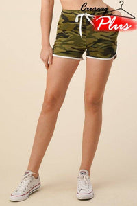 Plus Size Camo Shorts with Side Pockets