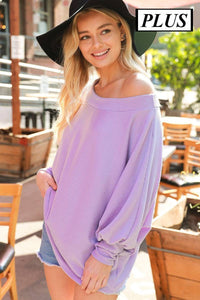 Plus Size Knit Top with Boat Neckline and Dolman Sleeves