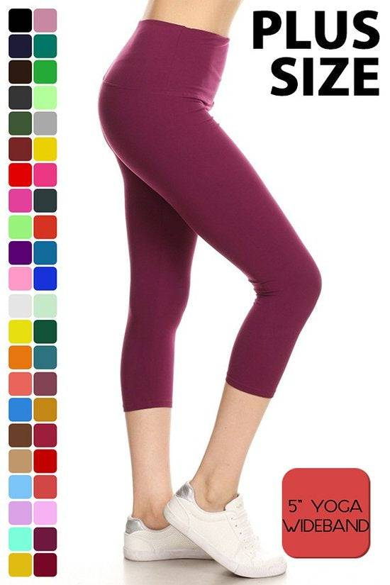 Plus Size Yoga Waistband Capris