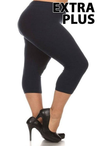 Extra Plus Size Capris with Elastic Waistband