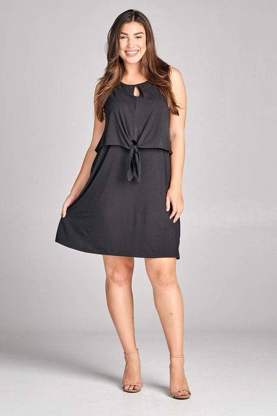 Plus Size Sleeveless Dress with Keyhole and Front Tie