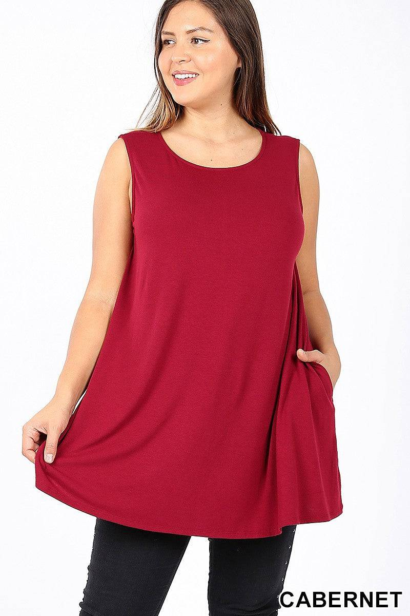 Plus Size Sleeveless Tunic with Side Pockets