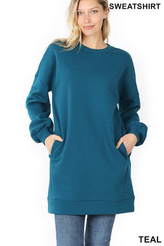 Tunic Length Sweatshirt with Round Neck and Side Pockets