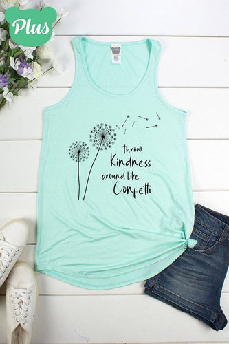 Plus Size Throw Kindness A-Line Tank Top