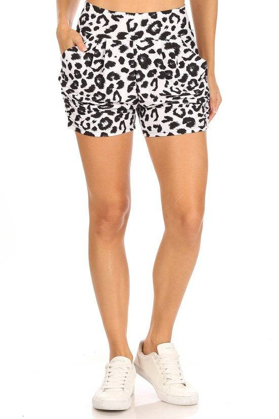 Leopard Print Shorts with Side Pockets