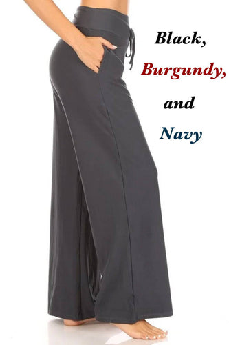 Lounge Pants with High Drawstring Waist and Pockets