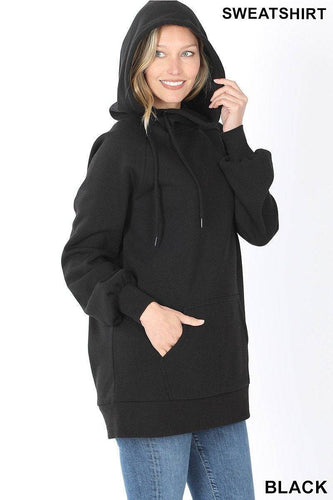 Black Tunic Length Side Tie Hoodie with Kangaroo Pocket