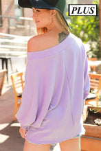 Load image into Gallery viewer, Plus Size Knit Top with Boat Neckline and Dolman Sleeves