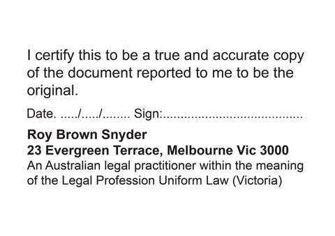 Australian legal practitioner with signature and name