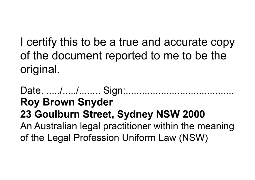 Australian Legal Practitioner NSW True Copy Stamp