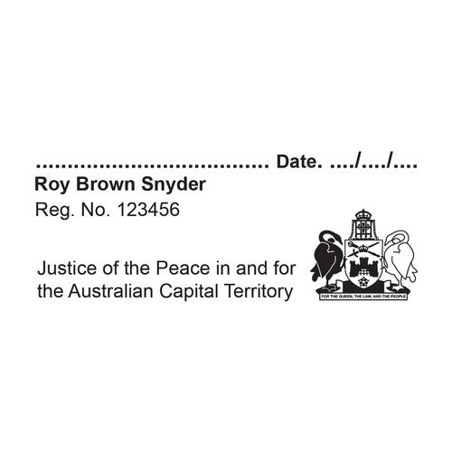 Australian Capital Territory Justice of the Peace With Name, Registration Number And Signature