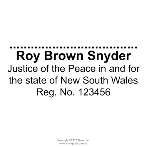 New South Wales Justice of the Peace Stamp with Name, Registration number, state and signature line