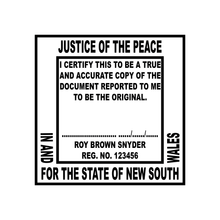 Load image into Gallery viewer, New South Wales Justice of The Peace Stamp 40 X 40mm Square