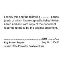 Load image into Gallery viewer, South Australia Justice Of The Peace Stamp True Copy Multi Page