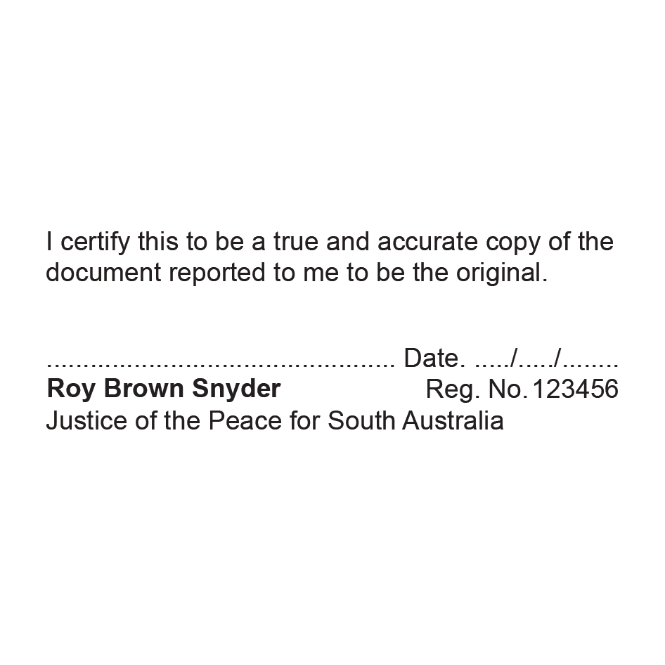 South Australia Justice of The Peace Stamp True Copy