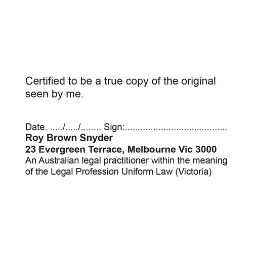 Australian Legal Practitioner Victoria True Copy Stamp
